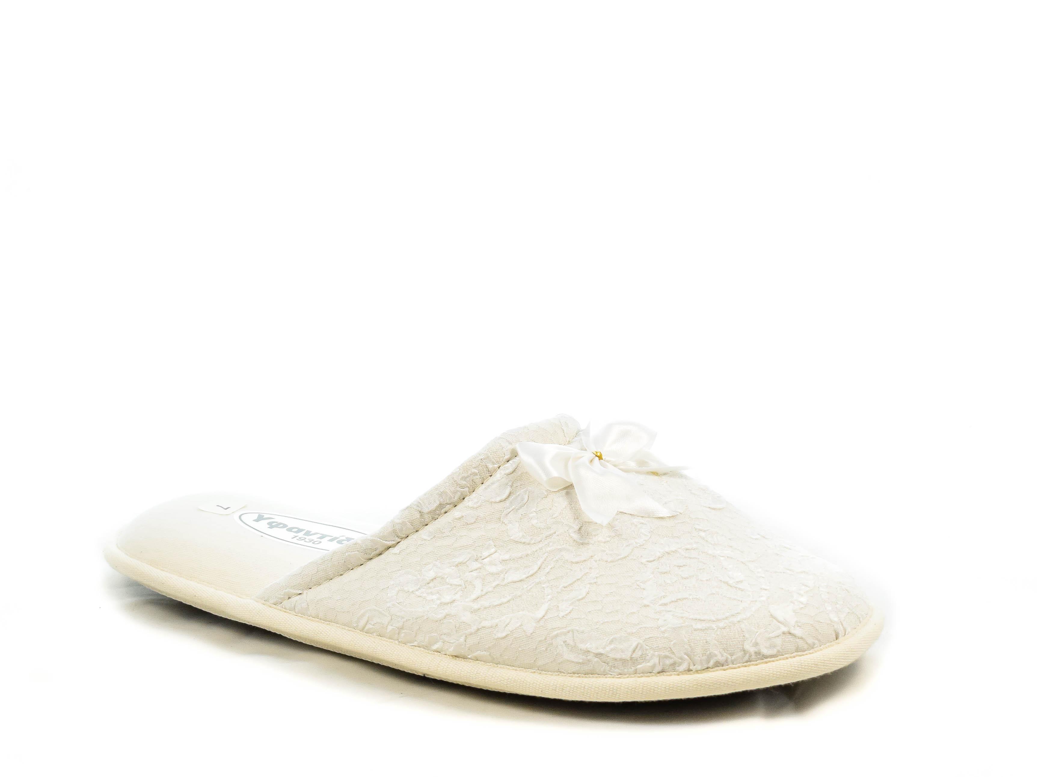 Νυφικές Παντόφλες Σατέν Υφαντίδης YFS-PAV02TR WHITE Άσπρο