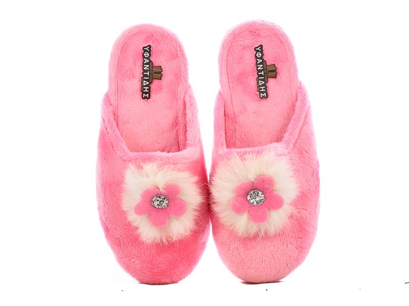 Γυναικείες Παντόφλες Σπιτιού Υφαντίδης 5020-02 Ροζ