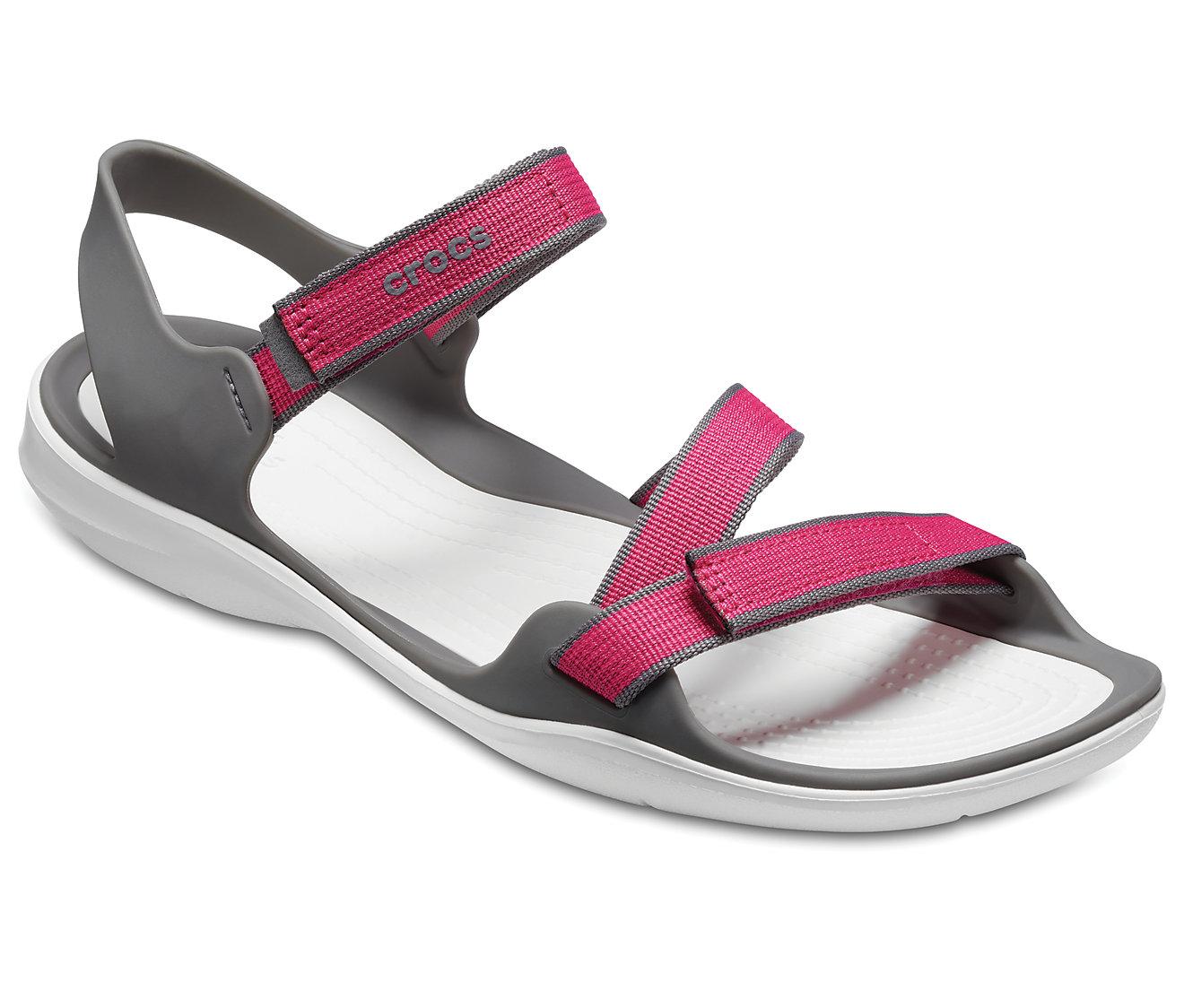 Crocs Women's Swiftwater Webbing Sandal 204804 Pink/Smoke Ροζ