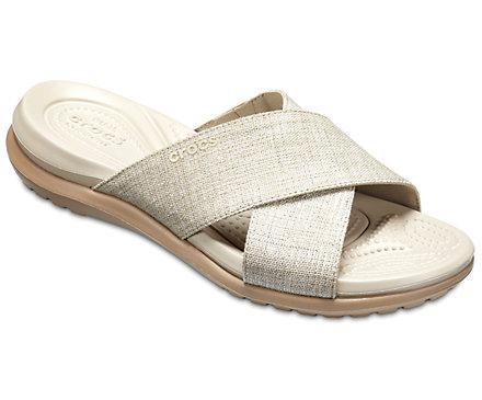Crocs Women's Capri Shimmer Cross-Band Sandal 204908 Oyster/Cobblestone Κρεμ